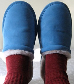 Red, white and blue. Patriotically warm feet.